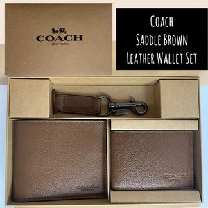 Coach Men's Wallet Boxed Set Saddle Brown Keychain